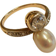 Vintage 14K w/ 1/2 ct. Diamond & Pearl White and Yellow Gold Ring