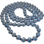 Long Vintage Blue Peking Round Glass Bead Necklace