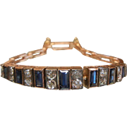 Edwardian Era Sapphire & Diamond 18K Rose Gold Bracelet