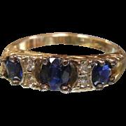 Edwardian Era Sapphire & Diamond 16K Gold Ring