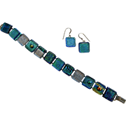 Vintage Peacock Blue Art Glass Tile Bracelet/Earrings Set