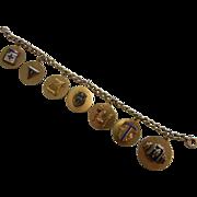 Vintage 12K GF Fraternal  Charm Bracelet