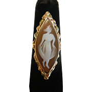 Antique Carved Shell Cameo 14K Ring
