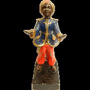 Vintage Cold Painted Blackamoor Metal Card Holder Statue