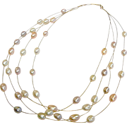 Vintage Multi-Strand 14K Floating Pearl Necklace