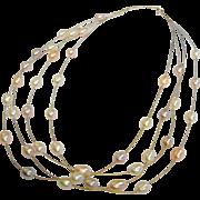 Vintage Multi-Strand 14K Floating Pearl Necklace