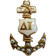 14K Gold Anchor Delta Gamma Sorority Badge