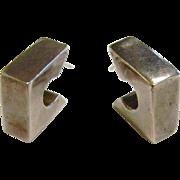 Modernist Geometric Sterling Silver Stud Earrings