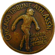 "Vintage Button Chicago Tribune ""Silver Skates Derbies"""