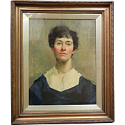 Framed Canvas Oil Painting Of Turn of the Century Woman