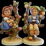 Vintage Goebel Porcelain Figurine Set - Apple Tree Boy & Girl