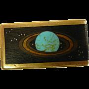 Unique Saturn Money Clip w/ Inlaid Turquoise & Wood