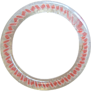 Old Vintage Pink & Clear Color  Lutz Type Marble Twist  Glass Ring