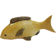Vintage Handmade Small Yellow Porcelain Goldfish Figurine - Signed China