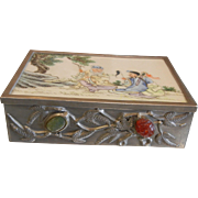 Vintage Chinese Metal Box w/ Porcelain Lid Decorated With Semi Precious Stones Gems
