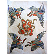 Antique Chinese Silk Hand Embroidered 5 Birds Fragment