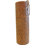 Vintage Carved & Decorated Betel Nut Container for Lime Powder from Timor