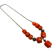 Vintage Sterling Silver Necklace w/ Natural Red Coral Beads