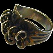 Unique Scandinavian Signed Sterling Silver Modernist Ring - Size: 6.5