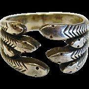 Vintage Sterling Silver Snake Ring - Size: 6.25