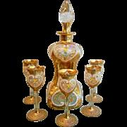Antique Gilt Jeweled Enamel Glass Decanter & Stemmed Glasses Moser Style