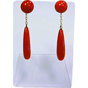 Fine 14 K German Earrings w/ Natural Red Coral