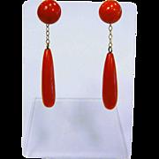 Fine 14 K German Earrings w/ Natural Red Coral