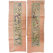 Pair of Antique Hand Embroidered Chinese Silk Textile Panel Fragments
