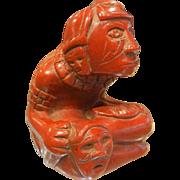Unique Vintage Fine Hand Carved Catlinite Stone Mayan Figure