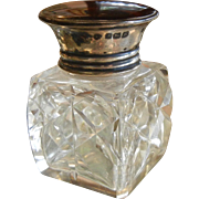 Fine Cut Crystal Perfume Bottle w/ Sterling Silver Lid