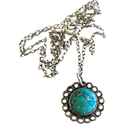 Fine Sterling Silver Turquoise Pendant Necklace