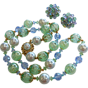 Vintage Green & Blue Glass Bubble & Faux-Pearl Bead Necklace w/ Clip Earrings