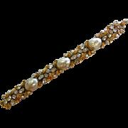 Vintage ART Gold-Tone Rhinestones & Faux-Pearls Costume Jewelry Bracelet