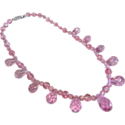 Vintage Faceted Vibrant Pink Crystal Glass Bead Necklace