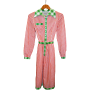 Vintage Oscar de la Renta Red/Green Gingham Dress