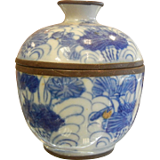 Antique 1820's Asian Blue & White Porcelain Container w/ Lid