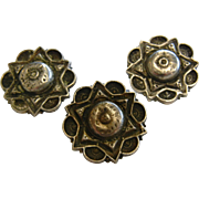 Unique Jewish Star Of David Vintage Silver-Tone Buttons - Set of Three