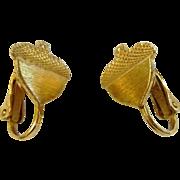 Vintage Adorable Gold-Tone Acorn Clip Earrings