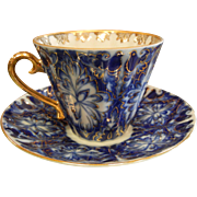 Signed USSR Gilt Cobalt Blue & White Porcelain Teacup & Saucer