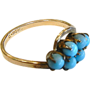 Small 14 K Gold Ring w/ Turquoise Glass Pieces