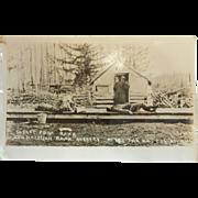 Vintage Original B&W Photo Postcard - New Hazelton Bank Robbery April 7, 1914
