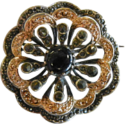 Fine Sterling Silver Brooch w/ Marcasite & Natural Blue Stone