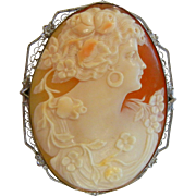 Antique Sterling Silver Brooch w/ Hand Carved Natural Cameo