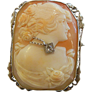 Antique 14K White Gold Diamond Cameo Brooch/Pendant