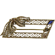 Fine Antique Diamond & Sapphire 14K White Gold Filigree Brooch