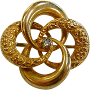 Fine Antique 14K Gold Love Knot  Brooch w/ Diamond