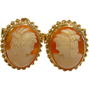 Fine Antique 14K Yellow Gold Cameo Cuff Links