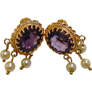 Vintage Dangle Amethyst & Pearl 14K  Gold Screw-Back Earrings
