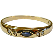Fine Vintage Signed Sapphire & Diamond Gold Ring - Size: 8.25