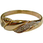 Vintage German Gold Diamond Band Ring - Size: 8
